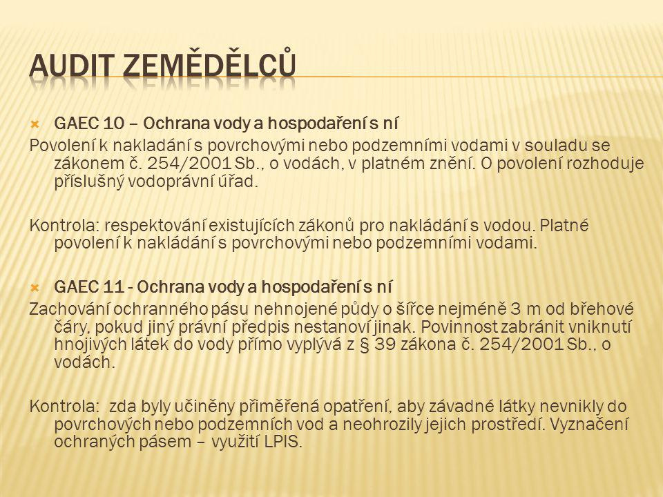  GAEC 10 – Ochrana vody a hospodaření s ní Povolení k nakladání s povrchovými nebo podzemními vodami v souladu se zákonem č.