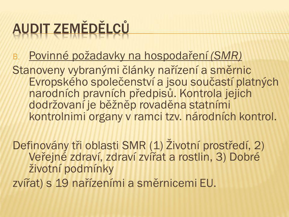 B. Povinné požadavky na hospodaření (SMR) Stanoveny vybranými články nařízení a směrnic Evropského společenství a jsou součastí platných narodních pra