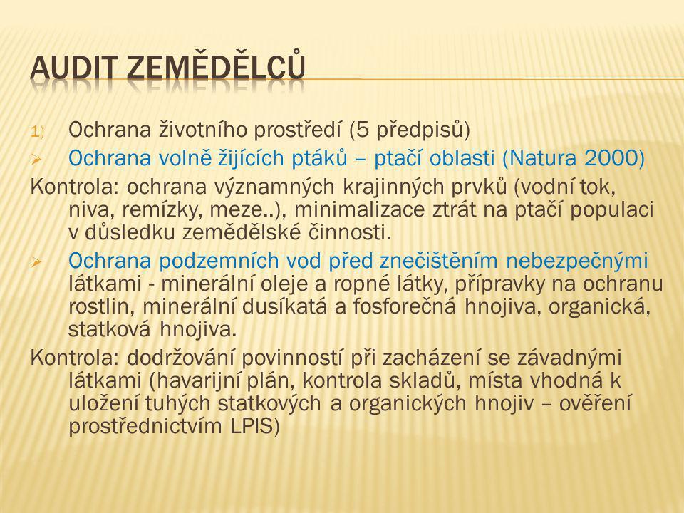 1) Ochrana životního prostředí (5 předpisů)  Ochrana volně žijících ptáků – ptačí oblasti (Natura 2000) Kontrola: ochrana významných krajinných prvků