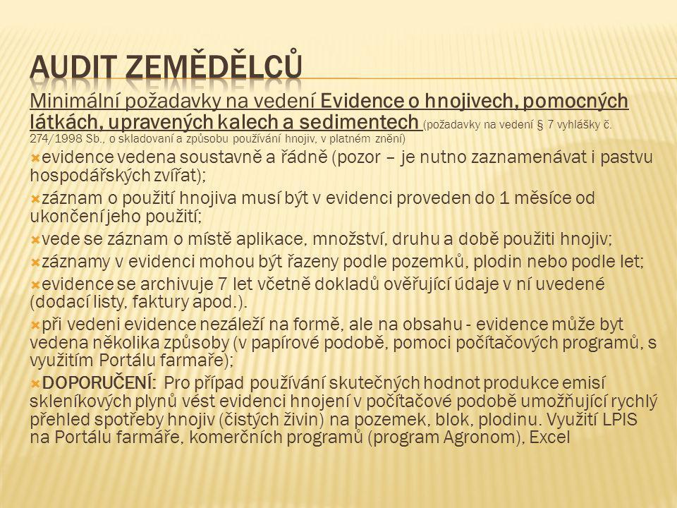 Minimální požadavky na vedení Evidence o hnojivech, pomocných látkách, upravených kalech a sedimentech (požadavky na vedení § 7 vyhlášky č. 274/1998 S