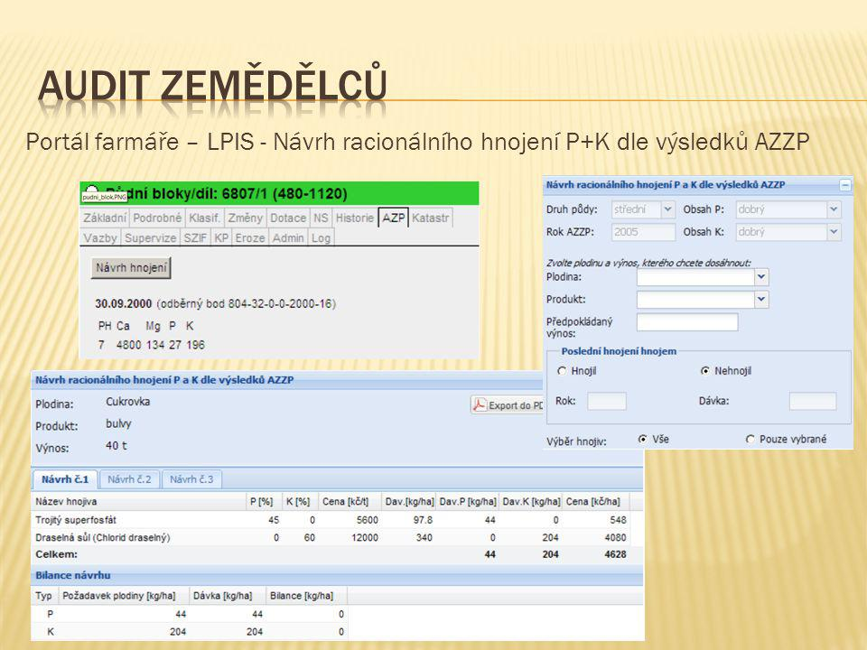 Portál farmáře – LPIS - Návrh racionálního hnojení P+K dle výsledků AZZP