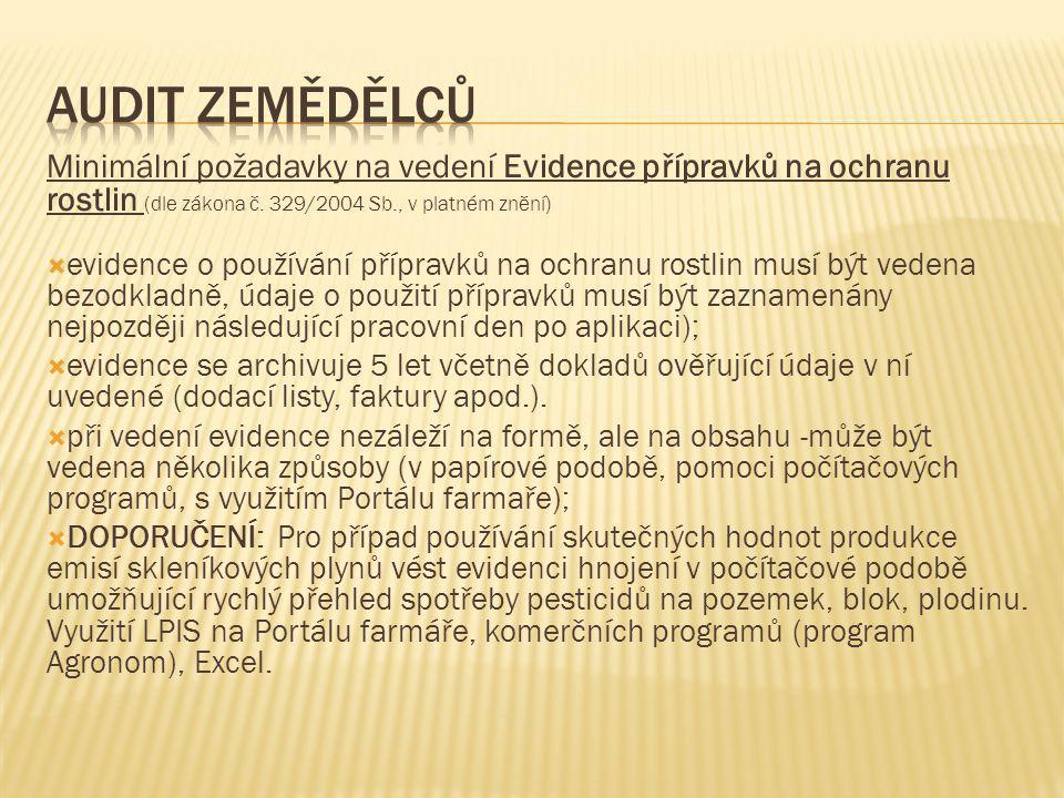 Minimální požadavky na vedení Evidence přípravků na ochranu rostlin (dle zákona č. 329/2004 Sb., v platném znění)  evidence o používání přípravků na