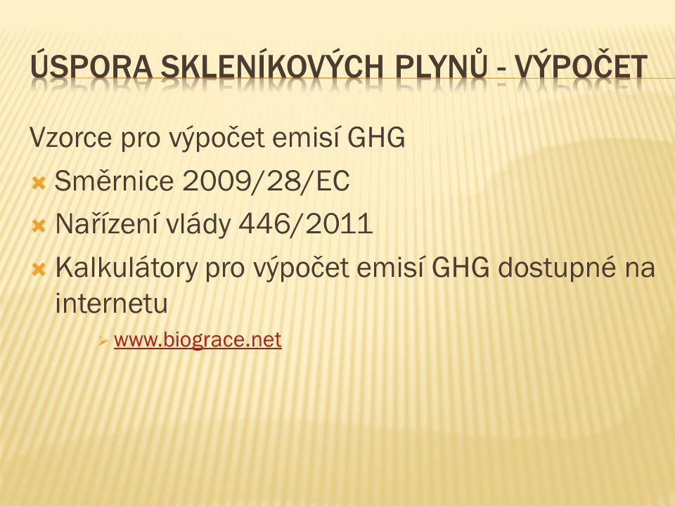 Vzorce pro výpočet emisí GHG  Směrnice 2009/28/EC  Nařízení vlády 446/2011  Kalkulátory pro výpočet emisí GHG dostupné na internetu  www.biograce.