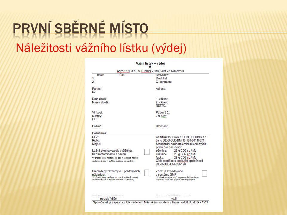 Náležitosti vážního lístku (výdej)