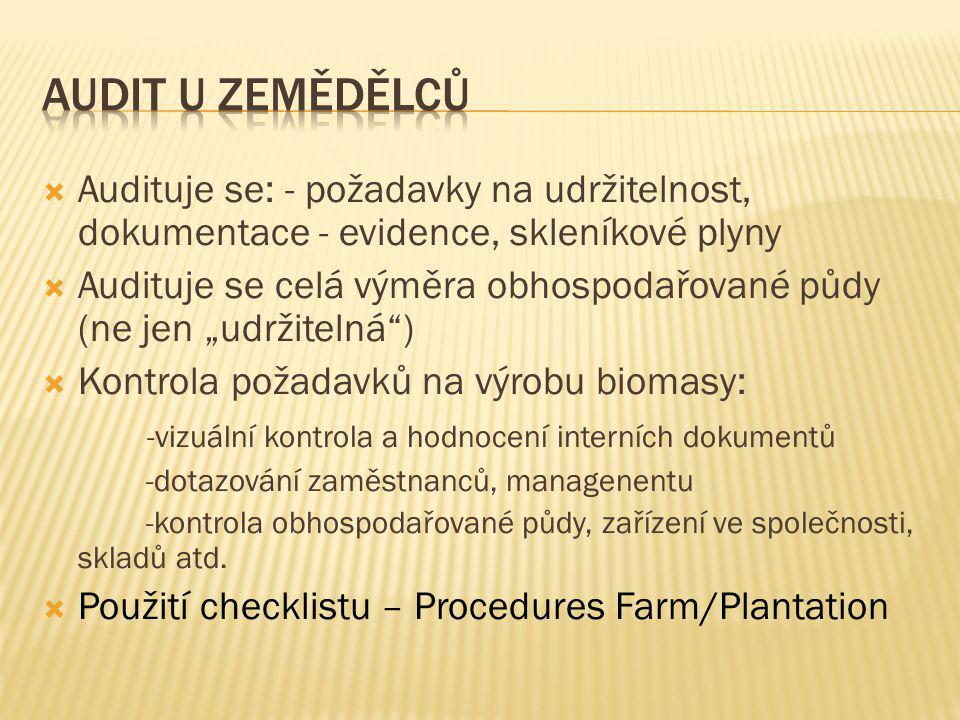 Evidence zemědělce (pěstitele biomasy) - shrnutí  Kopie vydaných samostatných prohlášení  Údaje o výměře půdy (celková výměra, výměra na, které je pěstována biomasa splňující kritéria udržitelnosti)  Údaje o zemědělské kultuře půdy (orná půda, případně jiné kultury umožňující pěstování udržitelné biomasy)  Údaje o druzích pěstovaných plodin  Podklady o způsobu pěstování biomasy (správná zemědělská praxe)  Evidence jednotlivých odchozích dodávek ( např.