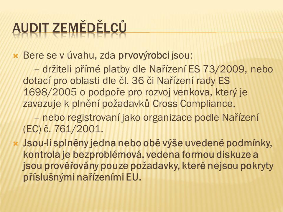  Bere se v úvahu, zda prvovýrobci jsou: – držiteli přímé platby dle Nařízení ES 73/2009, nebo dotací pro oblasti dle čl. 36 či Nařízení rady ES 1698/