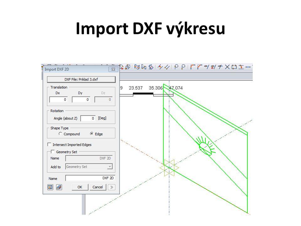 Vytvoření 3D geometrického modelu musíme upravit importovaný 2D model - z okrajů a z obrysu tunelu vytvoříme wire.