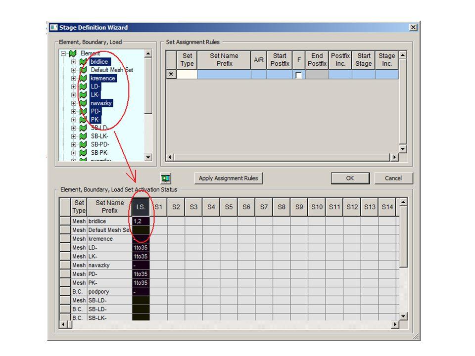 vybereme nyní všechny odstraňované a instalované prvky (LD-,LK-,PK-,PD-,SB-LK-,SB-PK-,SB-LD-,SB-PD-,svorniky) a přetáhneme do tabulky vpravo.