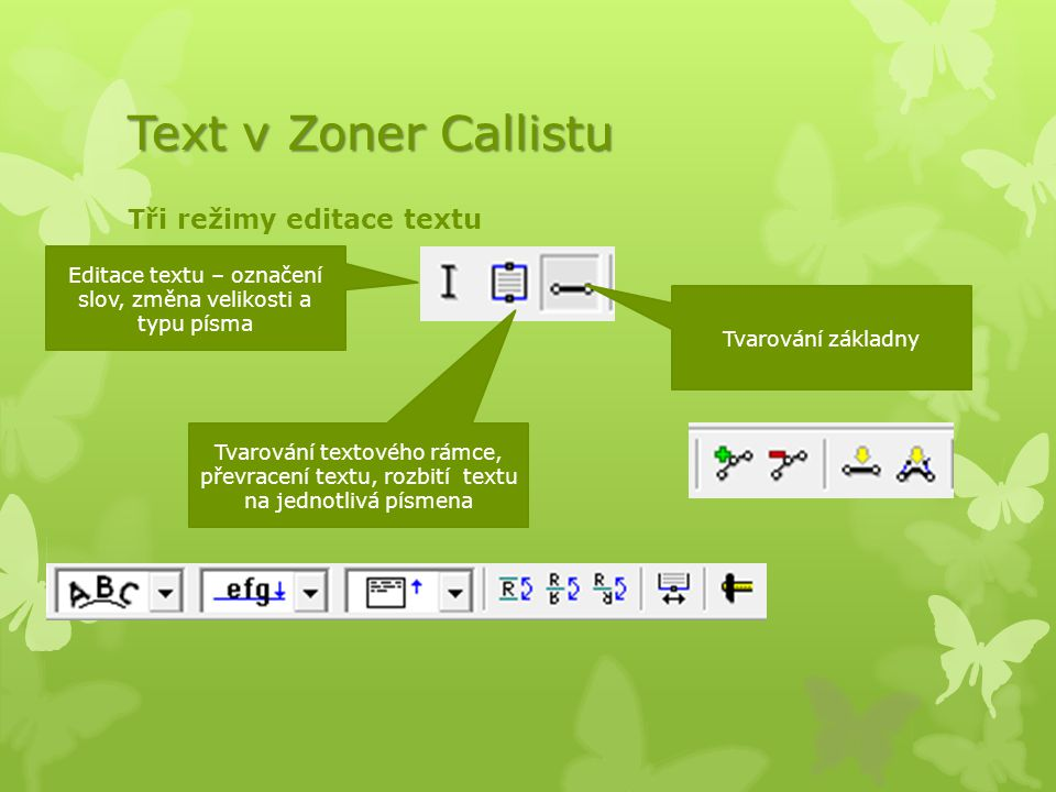 Text v Zoner Callistu Tři režimy editace textu Editace textu – označení slov, změna velikosti a typu písma Tvarování textového rámce, převracení textu