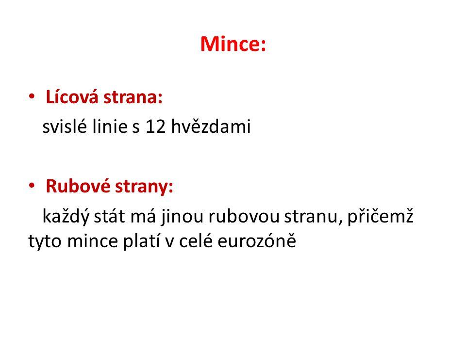Mince: Lícová strana: svislé linie s 12 hvězdami Rubové strany: každý stát má jinou rubovou stranu, přičemž tyto mince platí v celé eurozóně