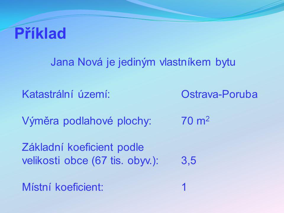 Příklad Jana Nová je jediným vlastníkem bytu Katastrální území: Ostrava-Poruba Výměra podlahové plochy: 70 m 2 Základní koeficient podle velikosti obc