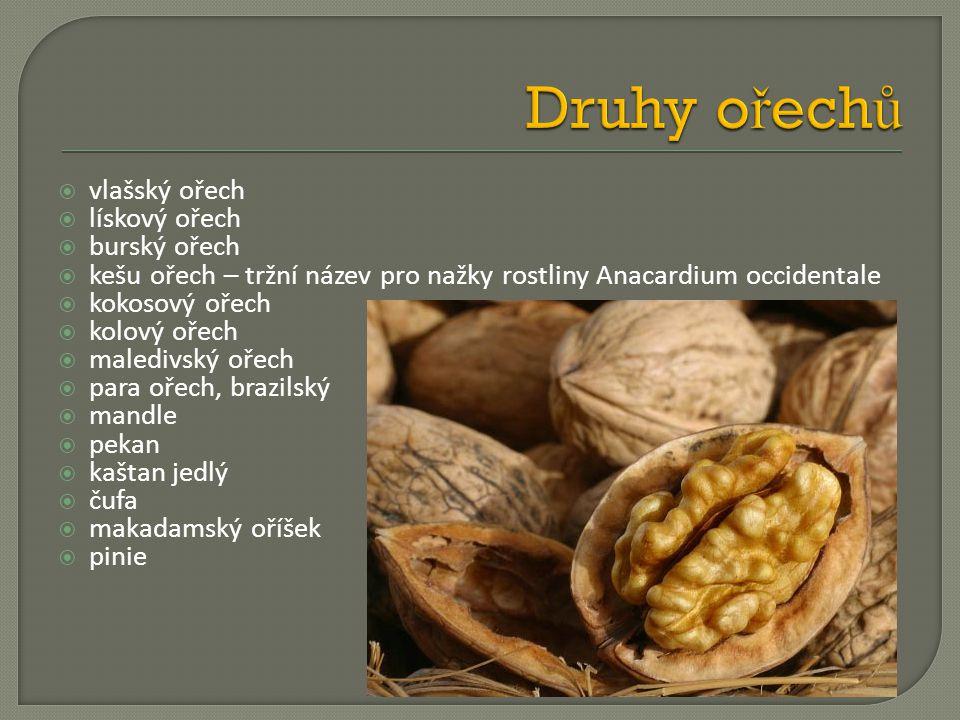  vlašský ořech  lískový ořech  burský ořech  kešu ořech – tržní název pro nažky rostliny Anacardium occidentale  kokosový ořech  kolový ořech 