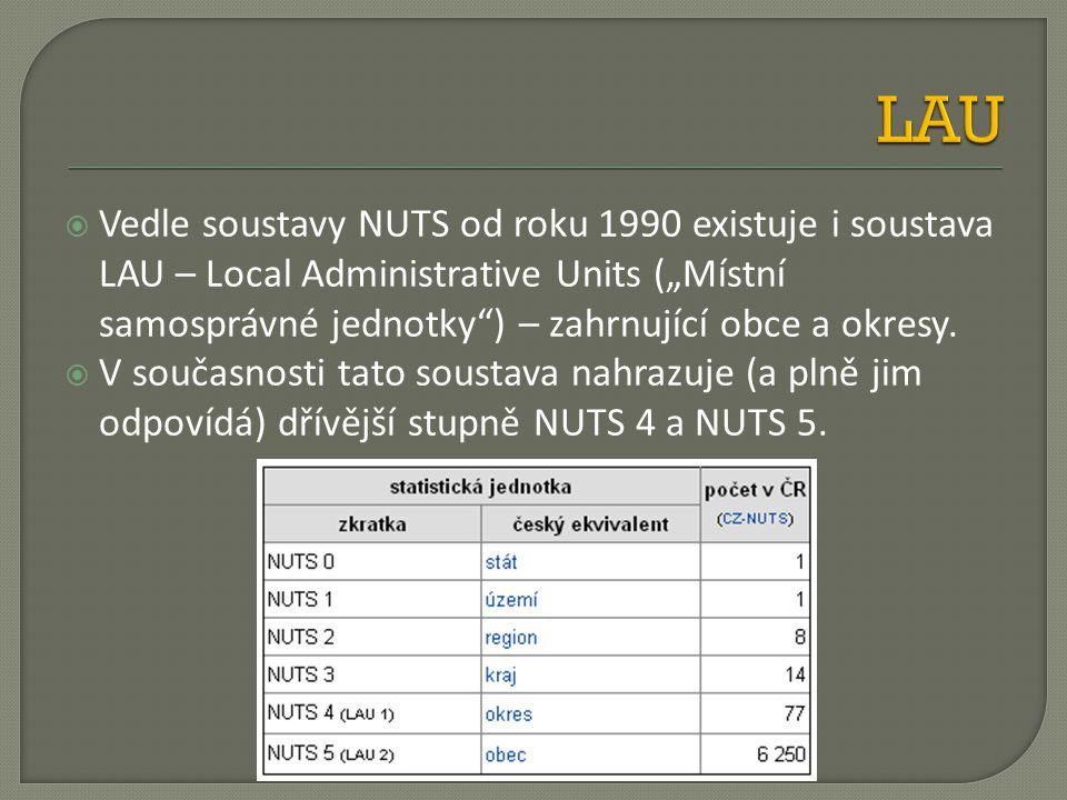 """ Vedle soustavy NUTS od roku 1990 existuje i soustava LAU – Local Administrative Units (""""Místní samosprávné jednotky"""") – zahrnující obce a okresy. """
