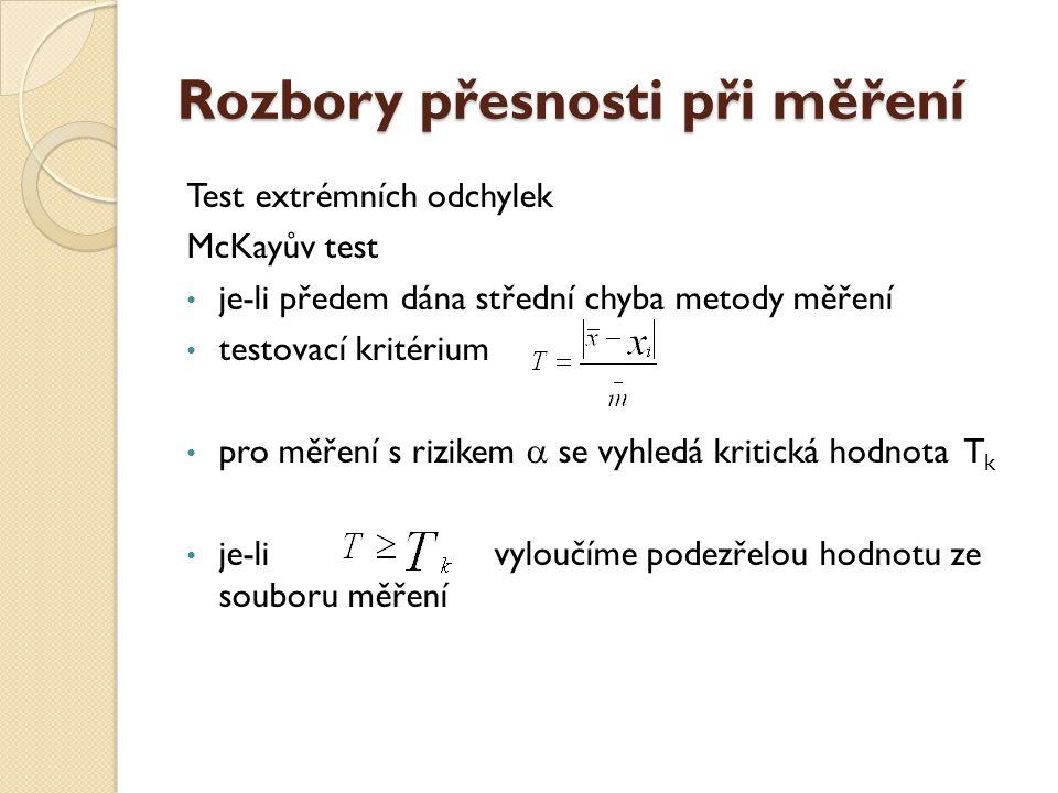 Rozbory přesnosti při měření Test extrémních odchylek McKayův test je-li předem dána střední chyba metody měření testovací kritérium pro měření s rizi