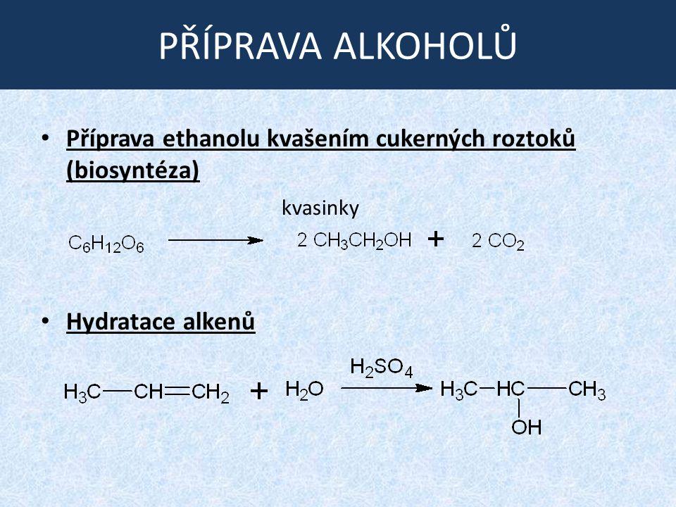 PŘÍPRAVA ALKOHOLŮ Příprava ethanolu kvašením cukerných roztoků (biosyntéza) Hydratace alkenů kvasinky