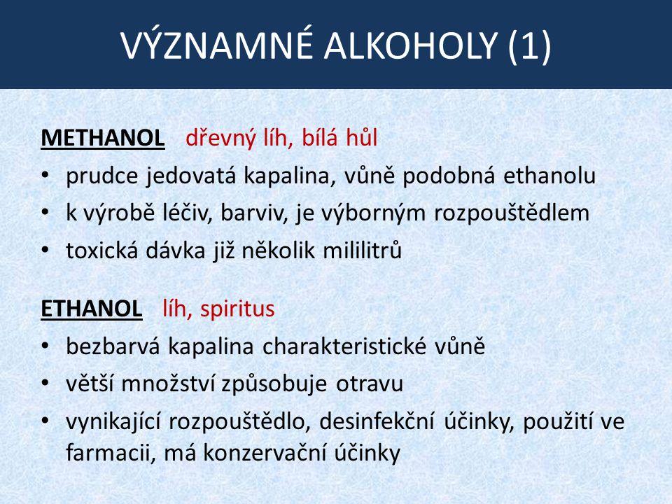 VÝZNAMNÉ ALKOHOLY (1) METHANOL dřevný líh, bílá hůl prudce jedovatá kapalina, vůně podobná ethanolu k výrobě léčiv, barviv, je výborným rozpouštědlem toxická dávka již několik mililitrů ETHANOL líh, spiritus bezbarvá kapalina charakteristické vůně větší množství způsobuje otravu vynikající rozpouštědlo, desinfekční účinky, použití ve farmacii, má konzervační účinky