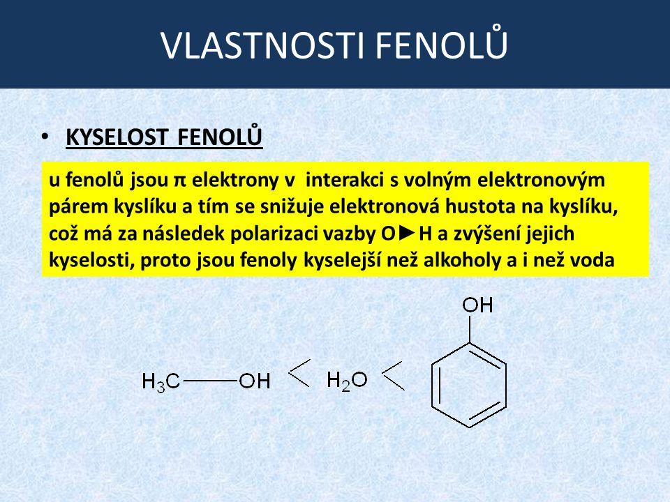 VLASTNOSTI FENOLŮ KYSELOST FENOLŮ u fenolů jsou π elektrony v interakci s volným elektronovým párem kyslíku a tím se snižuje elektronová hustota na kyslíku, což má za následek polarizaci vazby O ► H a zvýšení jejich kyselosti, proto jsou fenoly kyselejší než alkoholy a i než voda