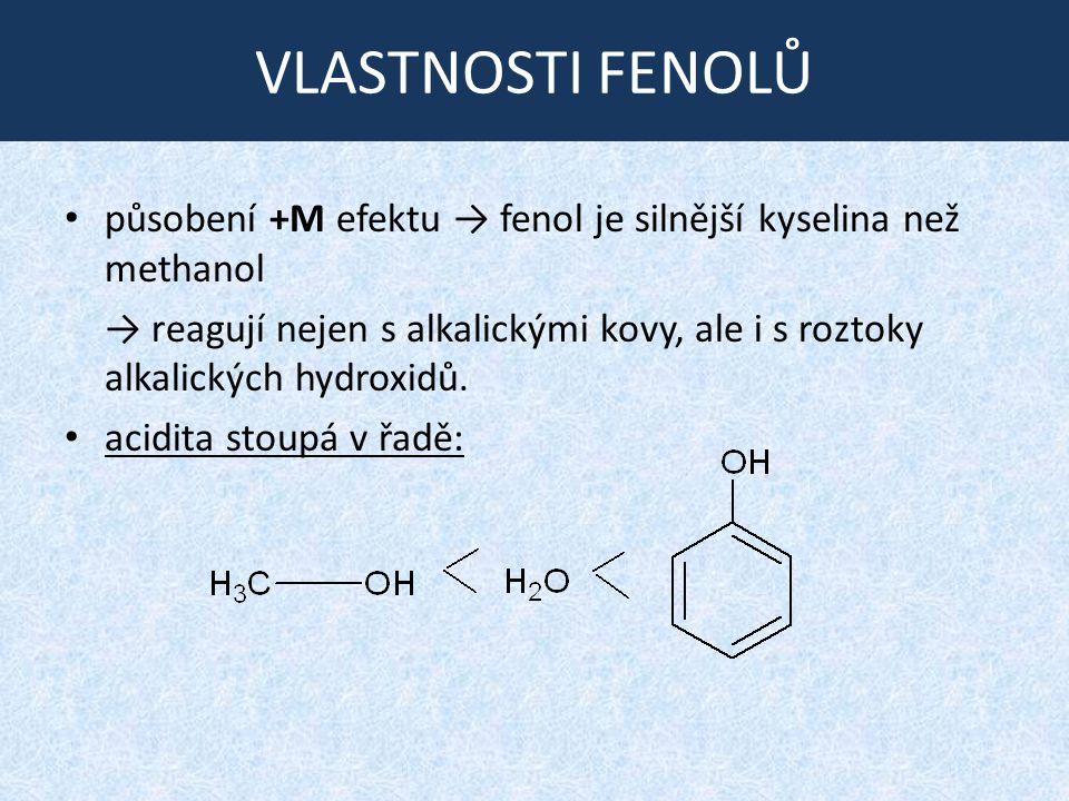 VLASTNOSTI FENOLŮ působení +M efektu → fenol je silnější kyselina než methanol → reagují nejen s alkalickými kovy, ale i s roztoky alkalických hydroxidů.
