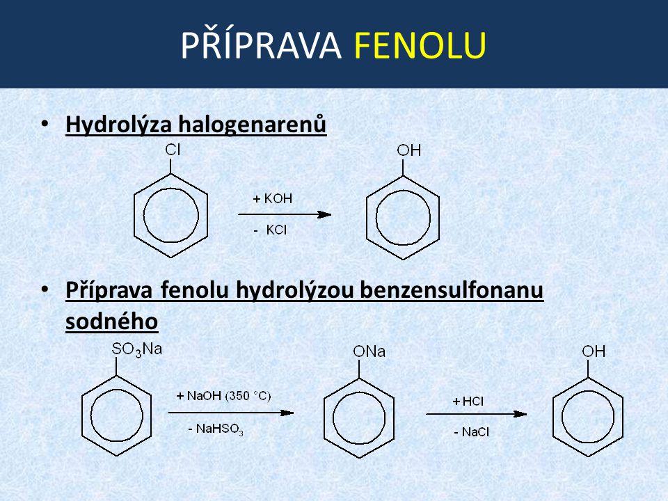 PŘÍPRAVA FENOLU Hydrolýza halogenarenů Příprava fenolu hydrolýzou benzensulfonanu sodného
