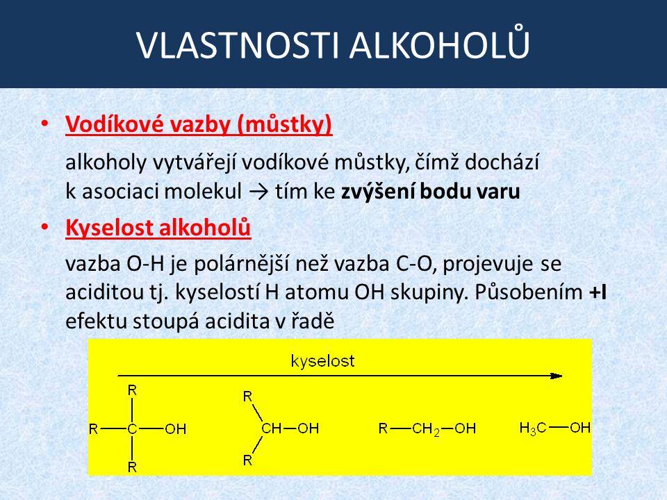 NEUTRALIZACE ALKOHOLŮ Polarita vazby O-H je příčinou toho, že se alkoholy v přítomnosti zásady chovají kysele.