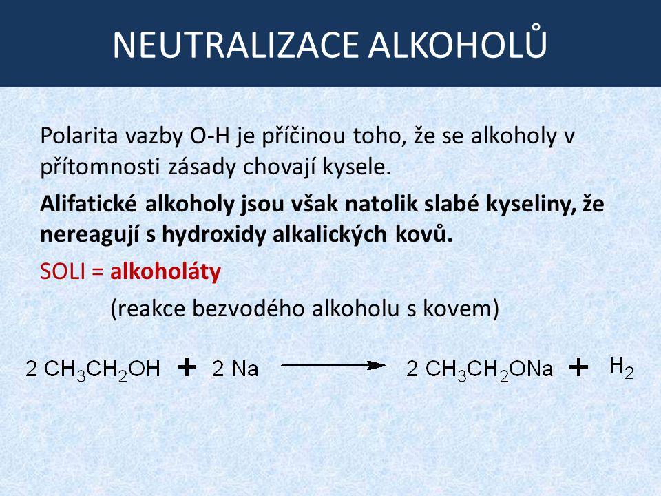 ÚLOHA: Reaktivita alkoholů K uvedenému reakčnímu schématu zapište jednotlivé děje, pojmenujte reaktanty a produkty (popř.