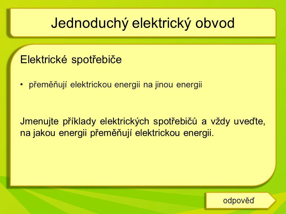 Elektrické spotřebiče přeměňují elektrickou energii na jinou energii Jmenujte příklady elektrických spotřebičů a vždy uveďte, na jakou energii přeměňu