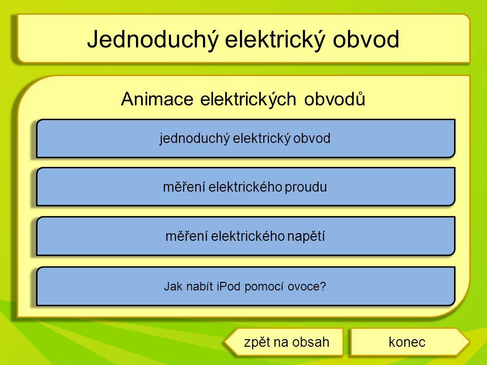 Animace elektrických obvodů Jednoduchý elektrický obvod konec jednoduchý elektrický obvod měření elektrického proudu měření elektrického napětí Jak na