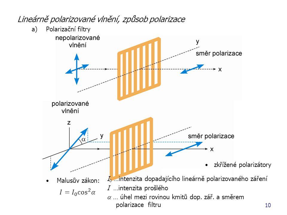 zkřížené polarizátory I 0 …intenzita dopadajícího lineárně polarizovaného záření I …intenzita prošlého  … úhel mezi rovinou kmitů dop. zář. a směrem
