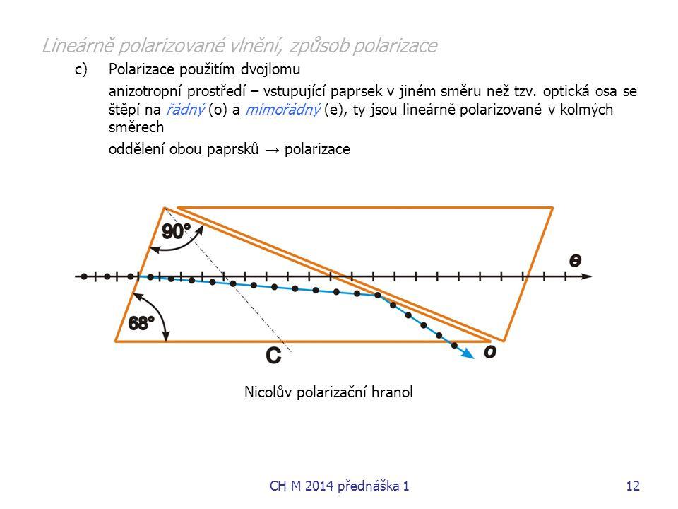 Lineárně polarizované vlnění, způsob polarizace c)Polarizace použitím dvojlomu anizotropní prostředí – vstupující paprsek v jiném směru než tzv. optic
