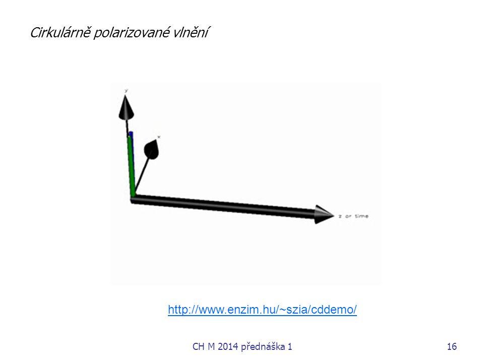 Cirkulárně polarizované vlnění http://www.enzim.hu/~szia/cddemo/ CH M 2014 přednáška 116