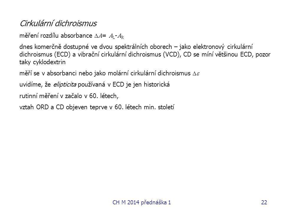 Cirkulární dichroismus měření rozdílu absorbance  A = A L - A R dnes komerčně dostupné ve dvou spektrálních oborech – jako elektronový cirkulární dic