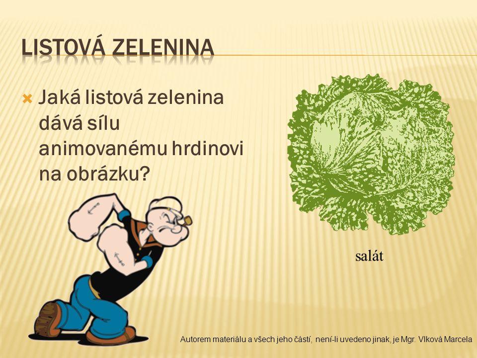  Jaká listová zelenina dává sílu animovanému hrdinovi na obrázku? salát Autorem materiálu a všech jeho částí, není-li uvedeno jinak, je Mgr. Vlková M