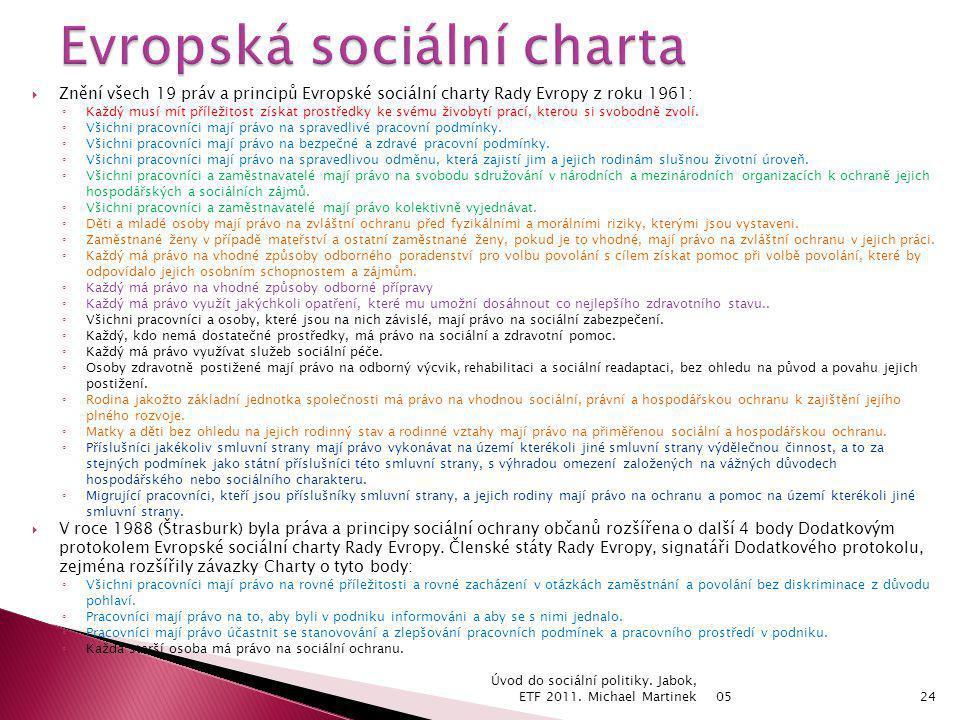  Znění všech 19 práv a principů Evropské sociální charty Rady Evropy z roku 1961: ◦ Každý musí mít příležitost získat prostředky ke svému živobytí pr