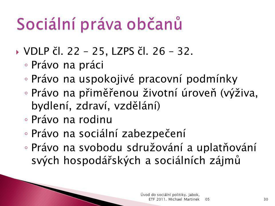  VDLP čl. 22 – 25, LZPS čl. 26 – 32. ◦ Právo na práci ◦ Právo na uspokojivé pracovní podmínky ◦ Právo na přiměřenou životní úroveň (výživa, bydlení,