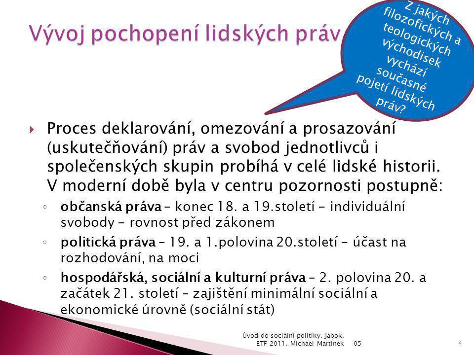 05 Úvod do sociální politiky.Jabok, ETF 2011. Michael Martinek15 Čl.