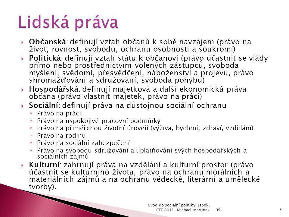 Občanská: definují vztah občanů k sobě navzájem (právo na život, rovnost, svobodu, ochranu osobnosti a soukromí)  Politická: definují vztah státu k