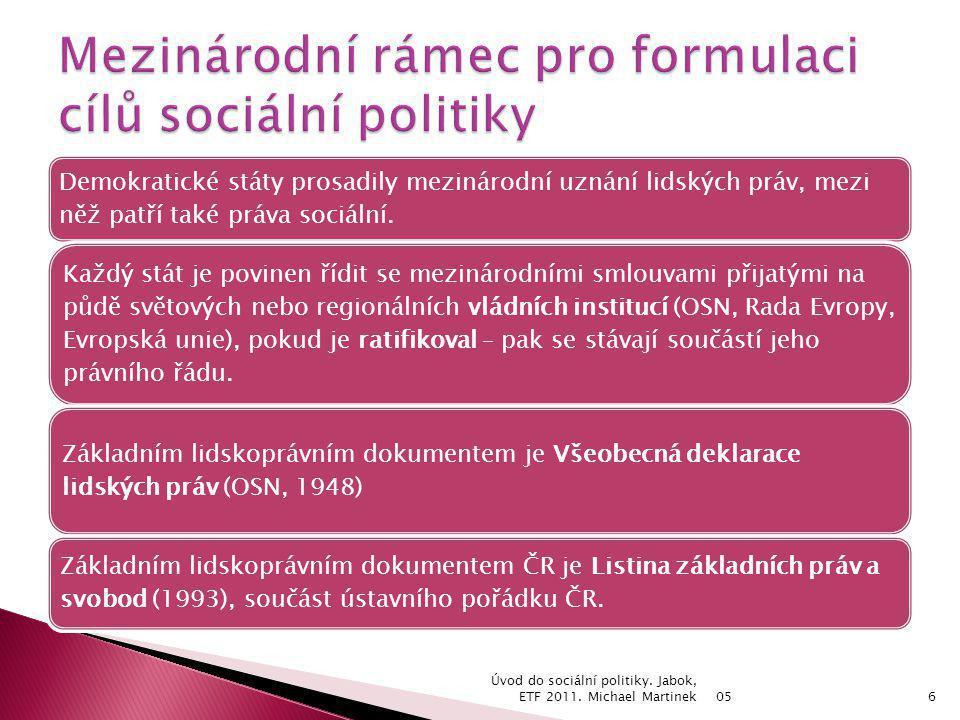 05 Úvod do sociální politiky.Jabok, ETF 2011. Michael Martinek17 Čl.