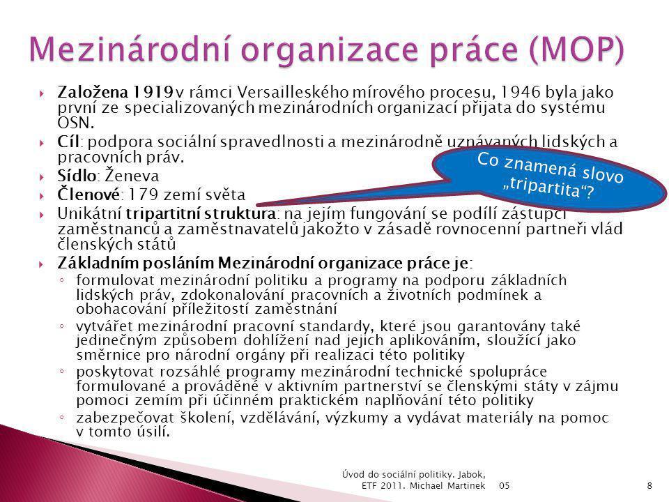 05 Úvod do sociální politiky.Jabok, ETF 2011. Michael Martinek19 Čl.