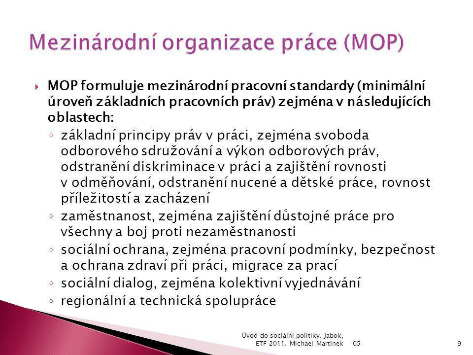  MOP formuluje mezinárodní pracovní standardy (minimální úroveň základních pracovních práv) zejména v následujících oblastech: ◦ základní principy pr