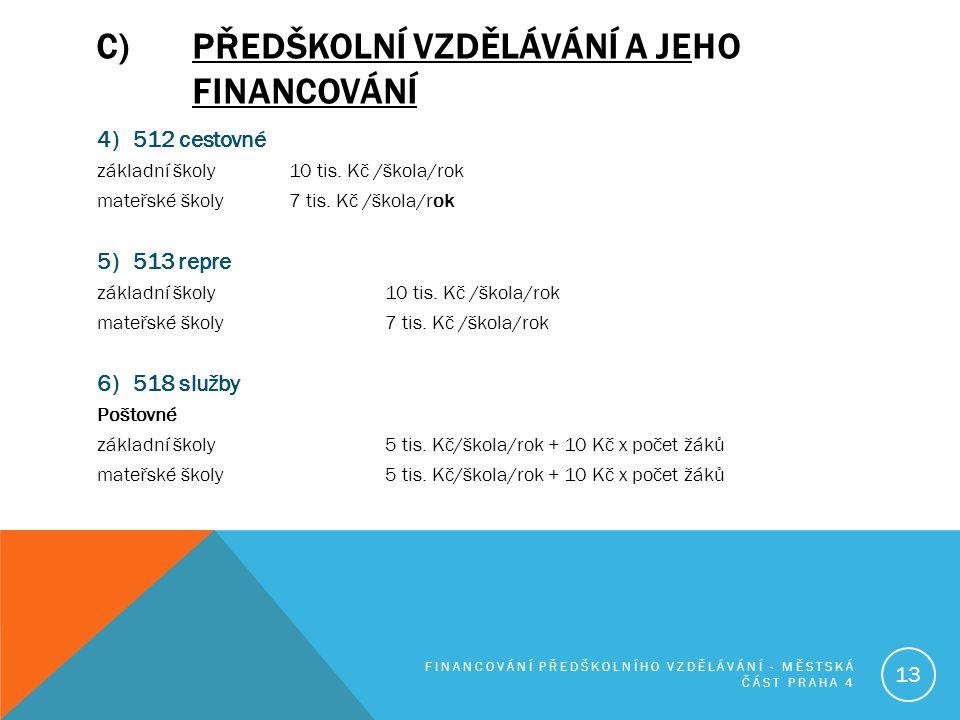 C)PŘEDŠKOLNÍ VZDĚLÁVÁNÍ A JEHO FINANCOVÁNÍ 4) 512 cestovné základní školy 10 tis. Kč /škola/rok mateřské školy 7 tis. Kč /škola/rok 5) 513 repre zákla