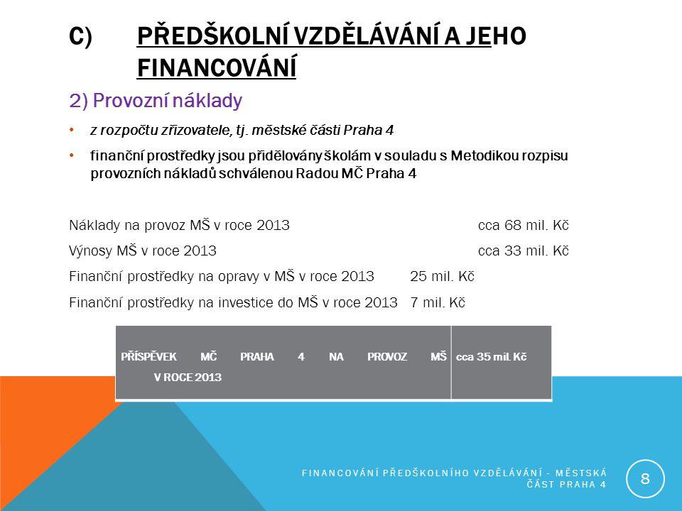 C)PŘEDŠKOLNÍ VZDĚLÁVÁNÍ A JEHO FINANCOVÁNÍ 2) Provozní náklady z rozpočtu zřizovatele, tj. městské části Praha 4 finanční prostředky jsou přidělovány