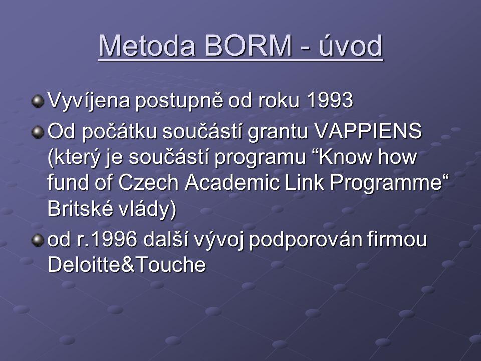 Metoda BORM - úvod Vyvíjena postupně od roku 1993 Od počátku součástí grantu VAPPIENS (který je součástí programu Know how fund of Czech Academic Link Programme Britské vlády) od r.1996 další vývoj podporován firmou Deloitte&Touche
