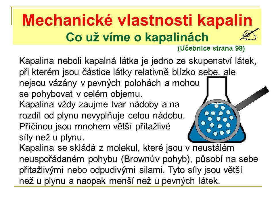 Mechanické vlastnosti kapalin Co už víme o kapalinách (Učebnice strana 98) Kapalina neboli kapalná látka je jedno ze skupenství látek, při kterém jsou
