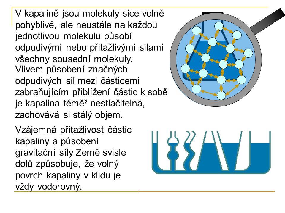 V kapalině jsou molekuly sice volně pohyblivé, ale neustále na každou jednotlivou molekulu působí odpudivými nebo přitažlivými silami všechny sousední