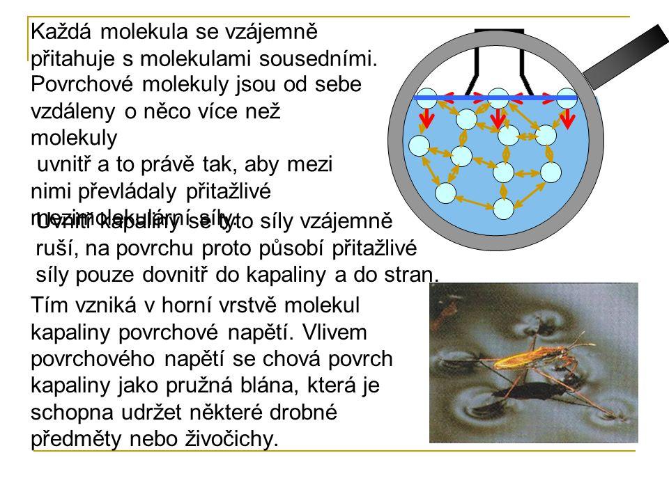 Každá molekula se vzájemně přitahuje s molekulami sousedními. Povrchové molekuly jsou od sebe vzdáleny o něco více než molekuly uvnitř a to právě tak,