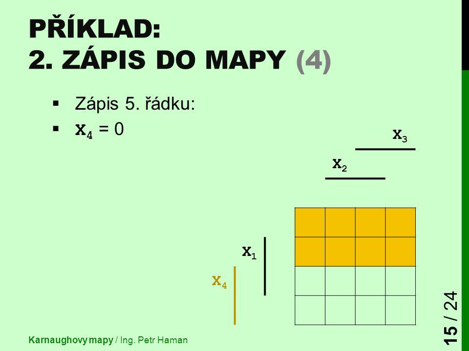 X3X3 X2X2 X1X1 X4X4 PŘÍKLAD: 2. ZÁPIS DO MAPY (4)  Zápis 5. řádku:  X 4 = 0 Karnaughovy mapy / Ing. Petr Haman 15 / 24