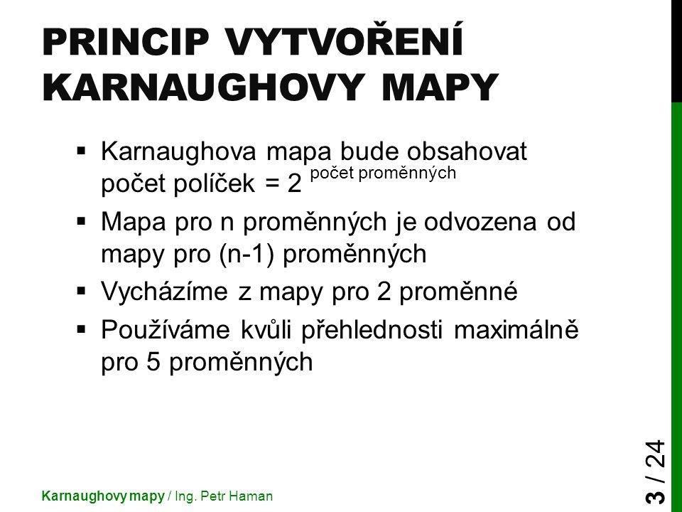 PRINCIP VYTVOŘENÍ KARNAUGHOVY MAPY  Karnaughova mapa bude obsahovat počet políček = 2 počet proměnných  Mapa pro n proměnných je odvozena od mapy pr