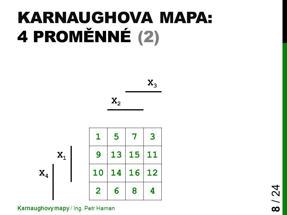 KARNAUGHOVA MAPA: 4 PROMĚNNÉ (2) Karnaughovy mapy / Ing. Petr Haman 8 / 24 X3X3 X2X2 1573 X1X1 9131511 X4X4 10141612 2684