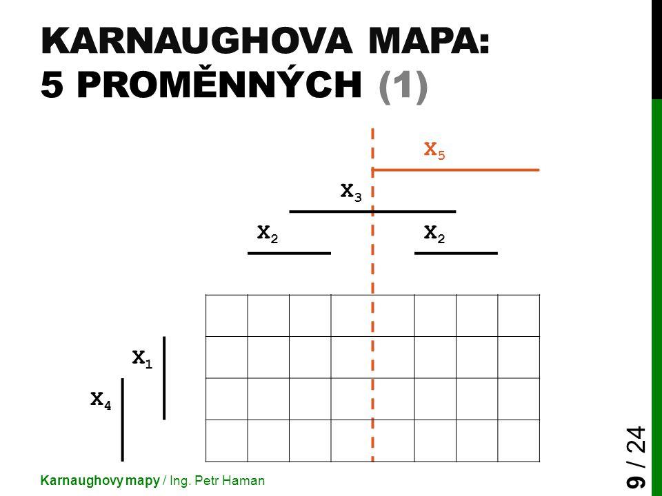 KARNAUGHOVA MAPA: 5 PROMĚNNÝCH (1) Karnaughovy mapy / Ing. Petr Haman 9 / 24 X5X5 X3X3 X2X2 X2X2 X1X1 X4X4