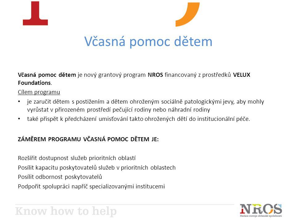 Včasná pomoc dětem Včasná pomoc dětem je nový grantový program NROS financovaný z prostředků VELUX Foundations. Cílem programu je zaručit dětem s post